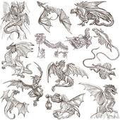Fényképek Sárkányok. Egy kézzel rajzolt Szabadkézi skiccek készíthetők. Eredeti