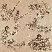 Halászat - egy kézzel rajzolt vector csomag