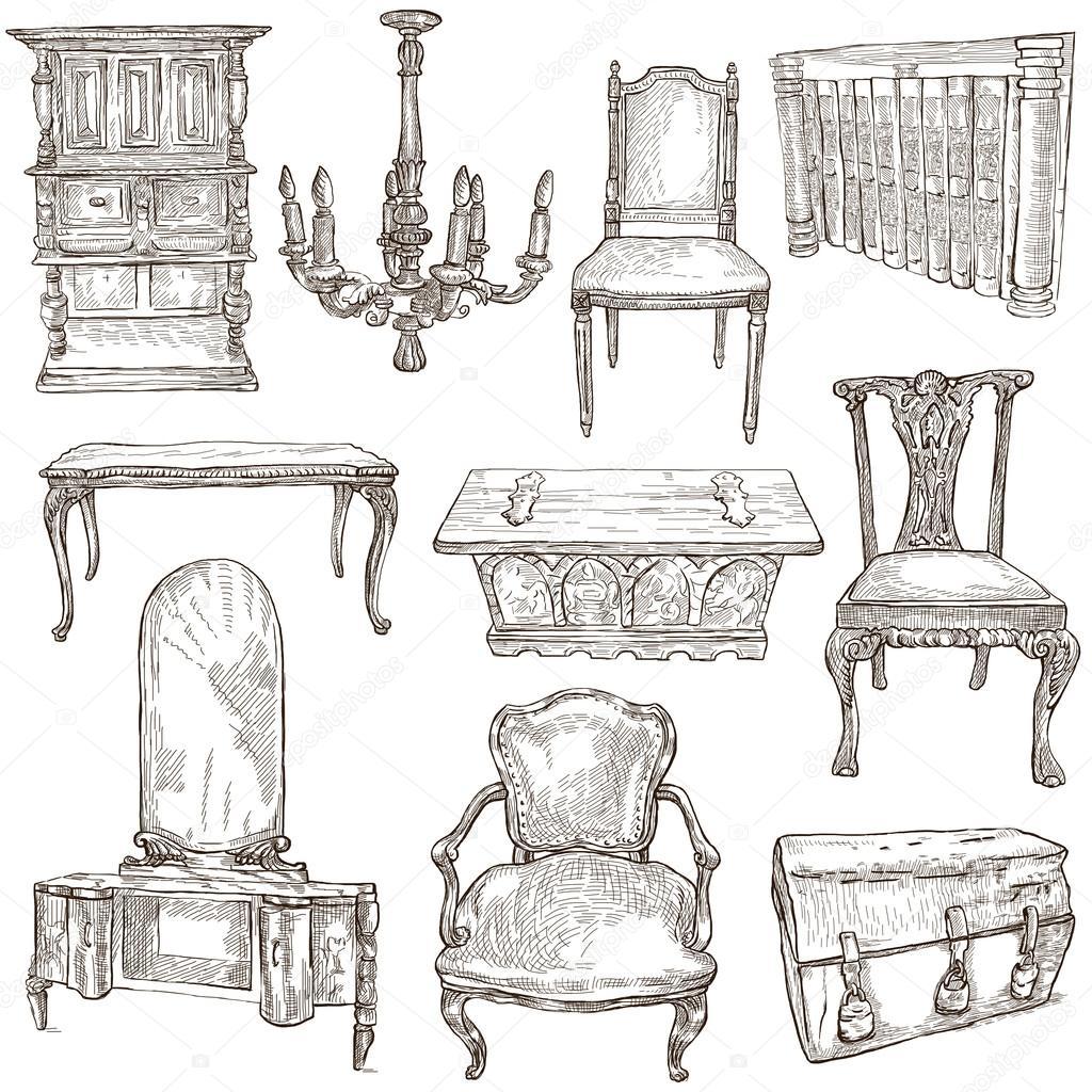 Muebles dibujos a mano alzada en blanco foto de stock for Dibujos de muebles
