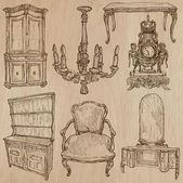Nábytek - vektorové kresby, perokresba