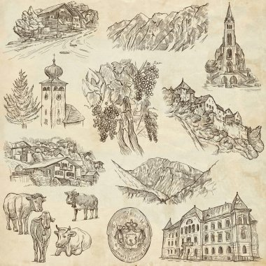 Travel - Liechtenstein. Full sized hand drawings on paper.
