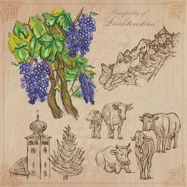 Travel, LIECHTENSTEIN - An hand drawn vector pack