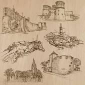 Architektura a míst po celém světě - ruční kresby
