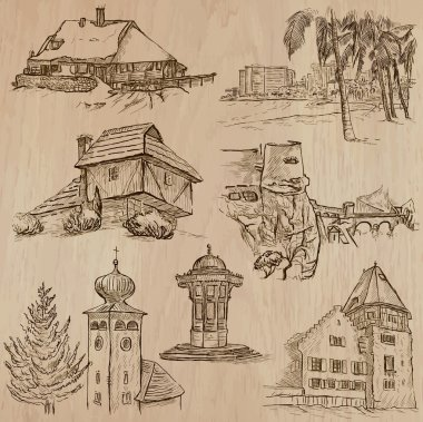 architecture and places around the world - freehand drawings