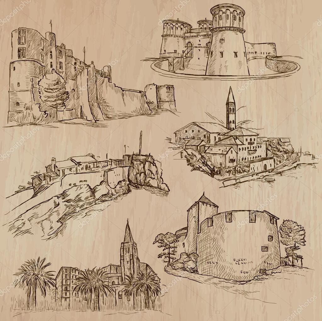 Excepcional arquitetura e lugares ao redor do mundo - desenhos à mão livre  CA81