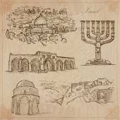 Izrael - egy kézzel rajzolt gyűjtemény. Vector csomag