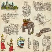 Kambodzsa - egy kézzel rajzolt ábrák. Frehand csomag
