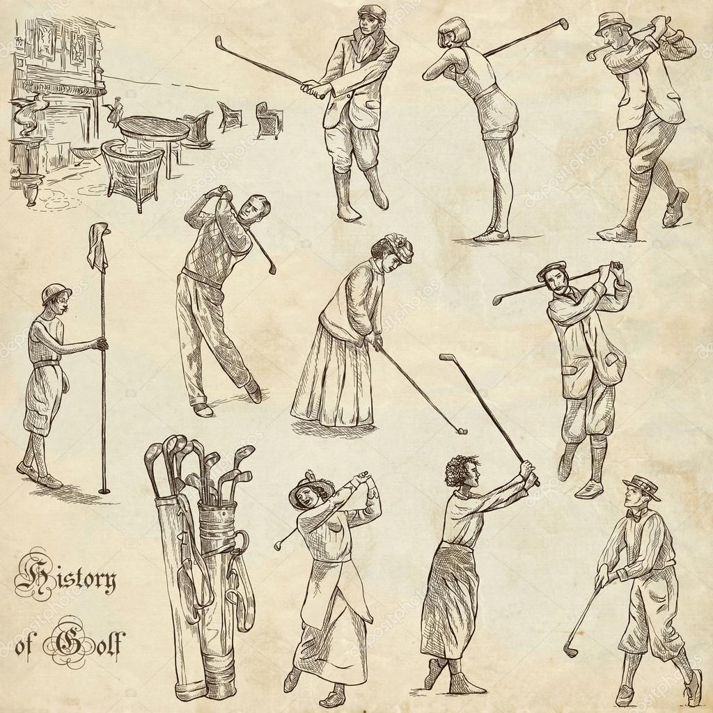golf e golfistas pacote vintage mão desenhada desenhar à mão