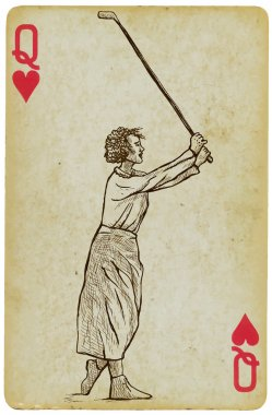 Playing Card, Queen - Vintage Golfer, an woman. Freehand drawing