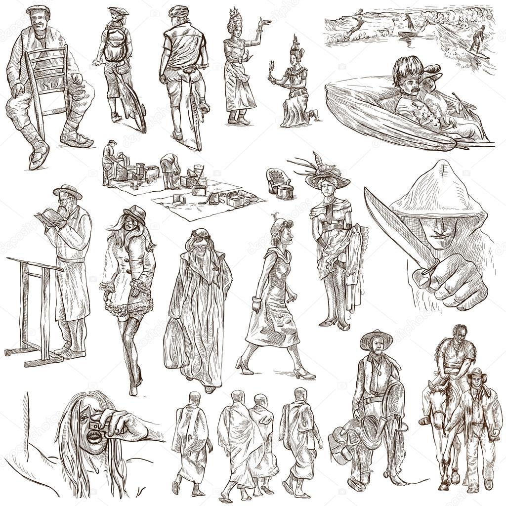 手描きのパックライン アート 人 ストック写真 Kuco 84848398
