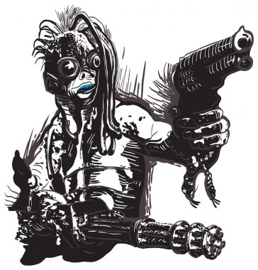 Monster, Creature, with the Guns - Freehand, Vector