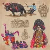 Fotografie Tibetu. Cestování - obrázky ze života. Vektorové pack