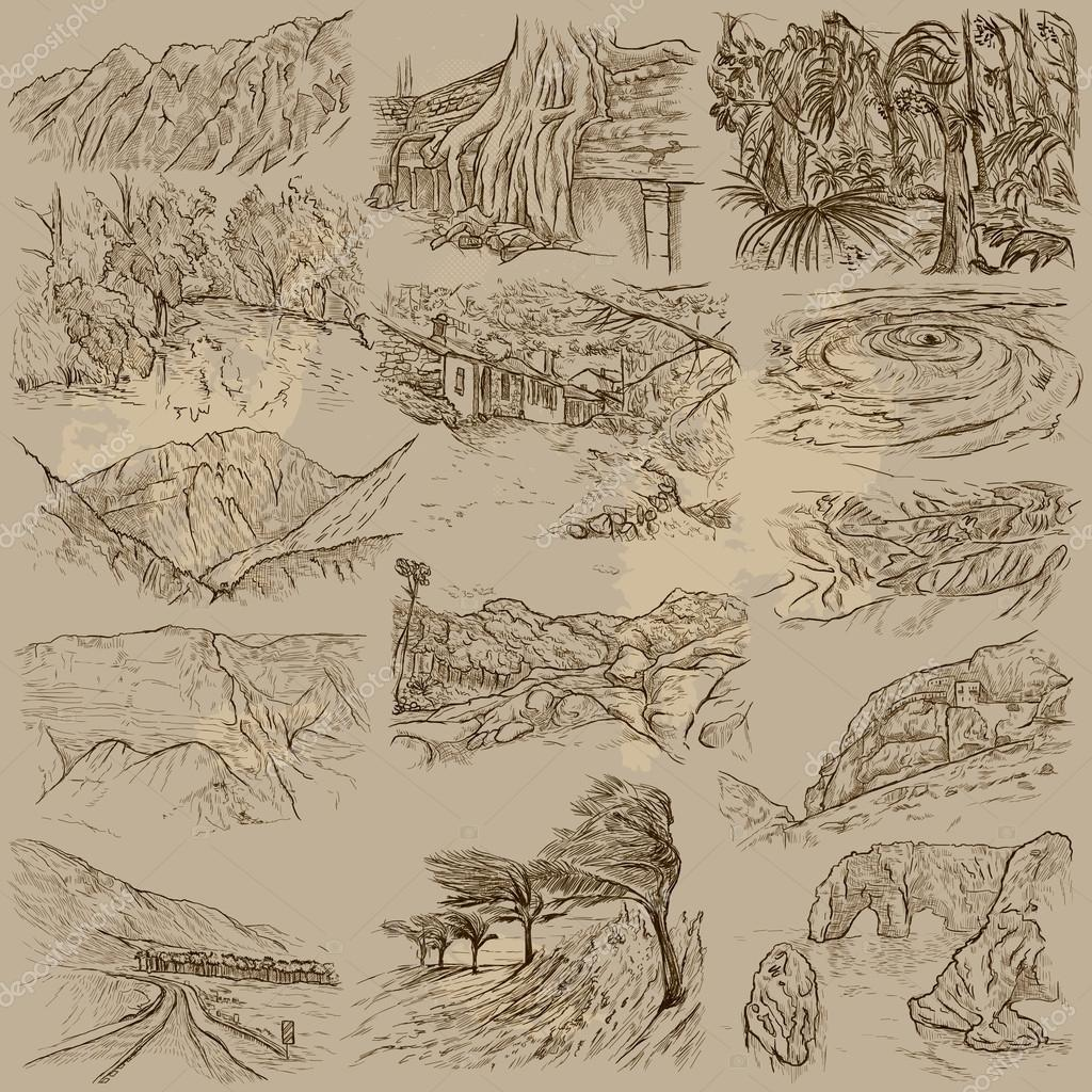 Famous places, landscapes and sceneries - freehands
