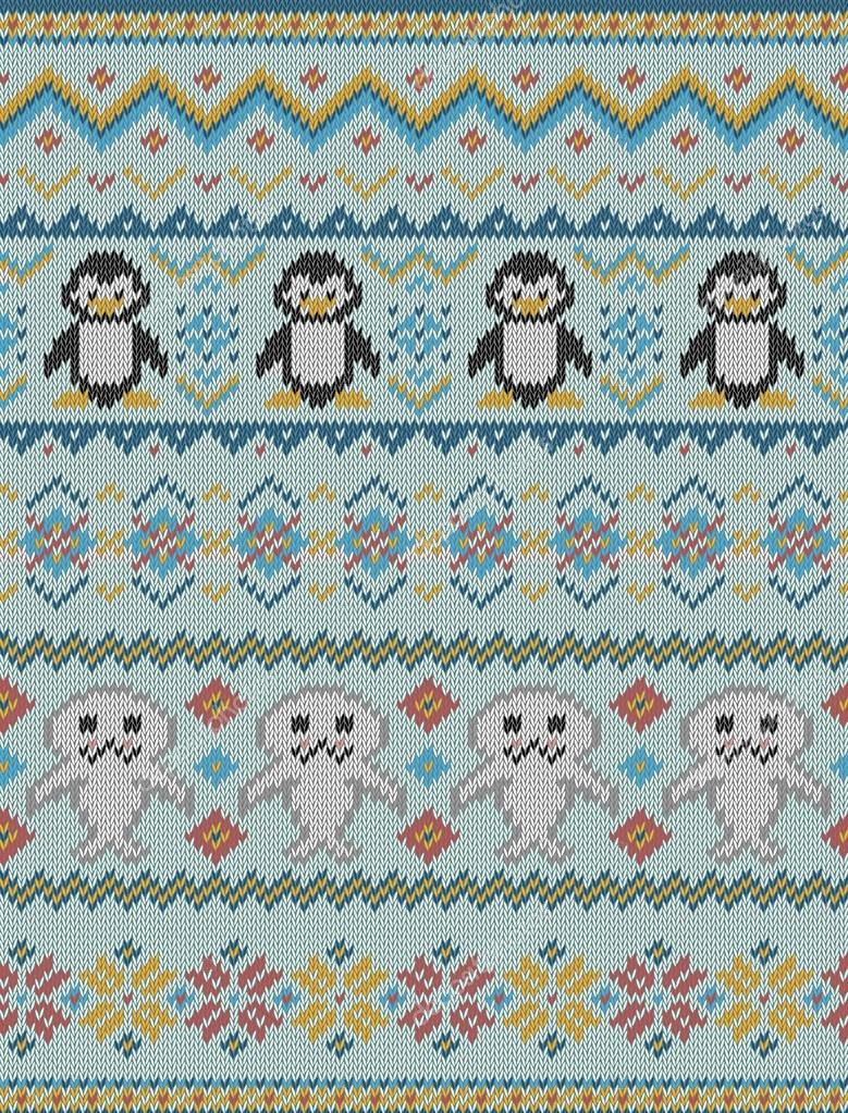Knitted bright seamless winter pattern with stylized penguins and ...