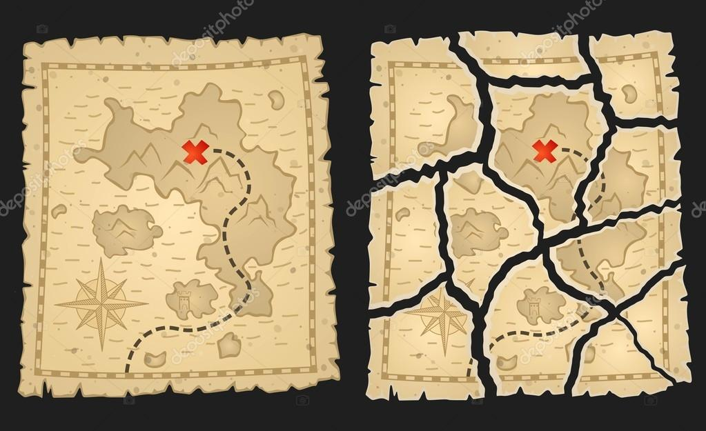 Carte Au Tresor Dechire.Carte Au Tresor Pirates Sur Parchemin Age Image
