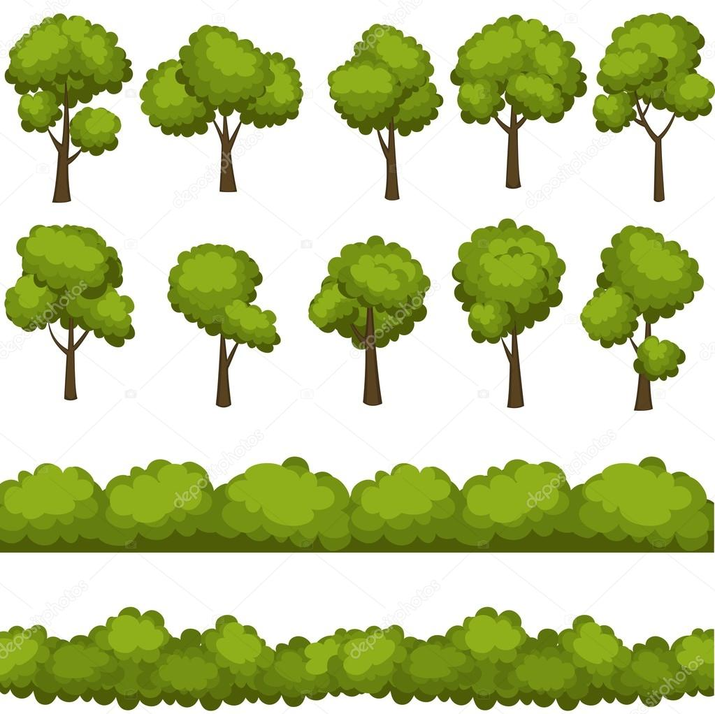 Conjunto de dibujos animados divertidos rboles y arbustos - Arboles y arbustos ...