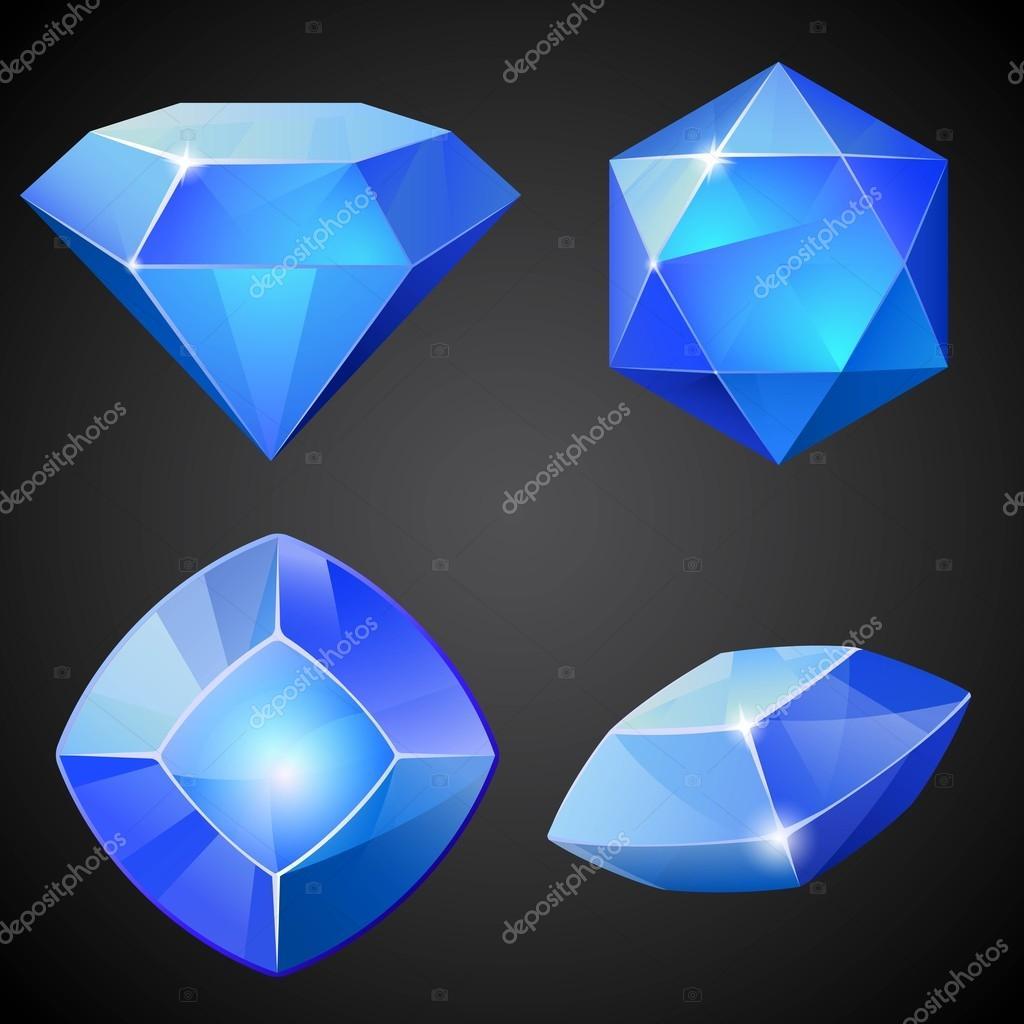 Set Of Blue Gemstones. 2d Crystal Asset For Games Collection. U2014 Stock Vector