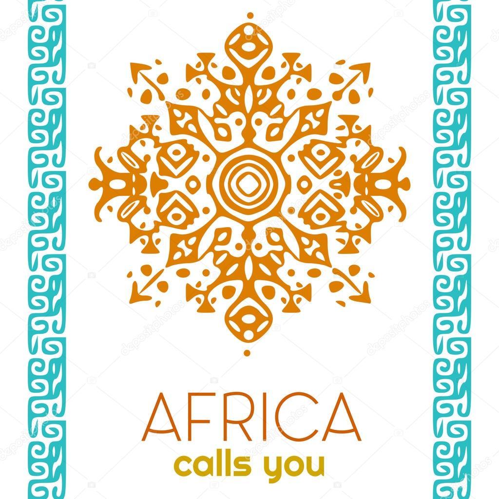 African style circle ornament or mandala. Tribal vector ...
