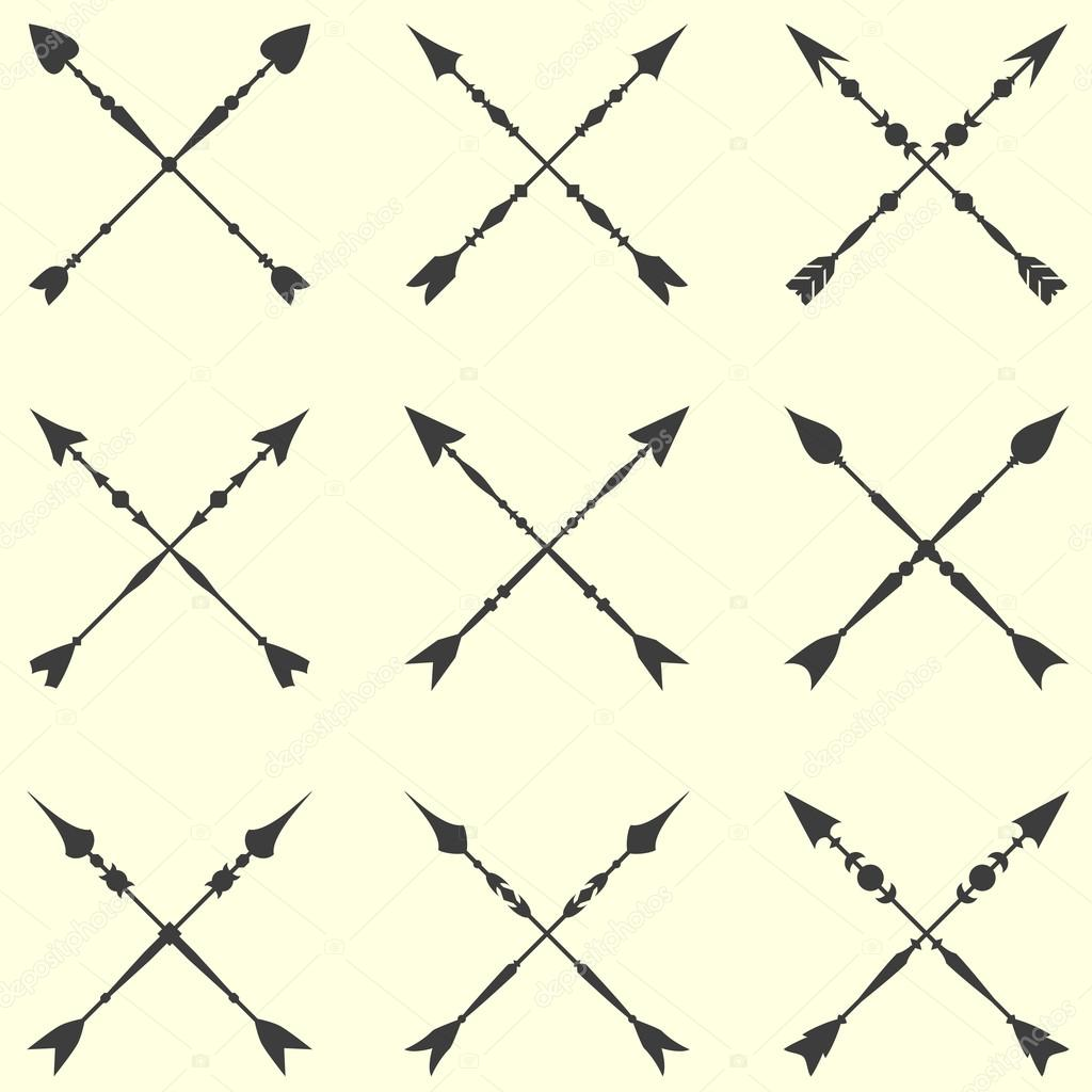 Arrow Clip Art Set Background Collection Of Crossed Vintage Arrows With Clear Geometric Silhouettes Vector By 0mela