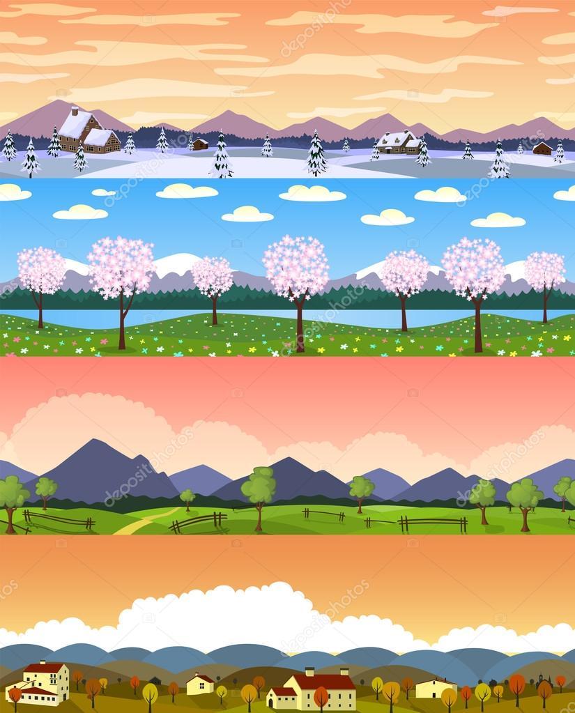 Four seasons landscape cartoon seamless backgrounds set.