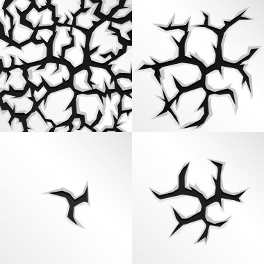Cartoon cracks in four stages. Vector illustration.