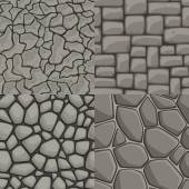 Photo Vector cartoon stone wall seamless texture collection