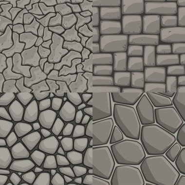 Vector cartoon stone wall seamless texture collection