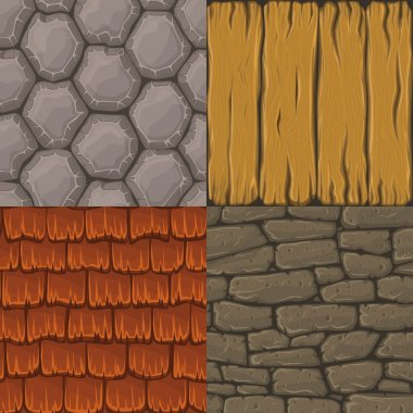 Collection of four vector cartoon seamless textures. Stones, roof tiles and wood planks.