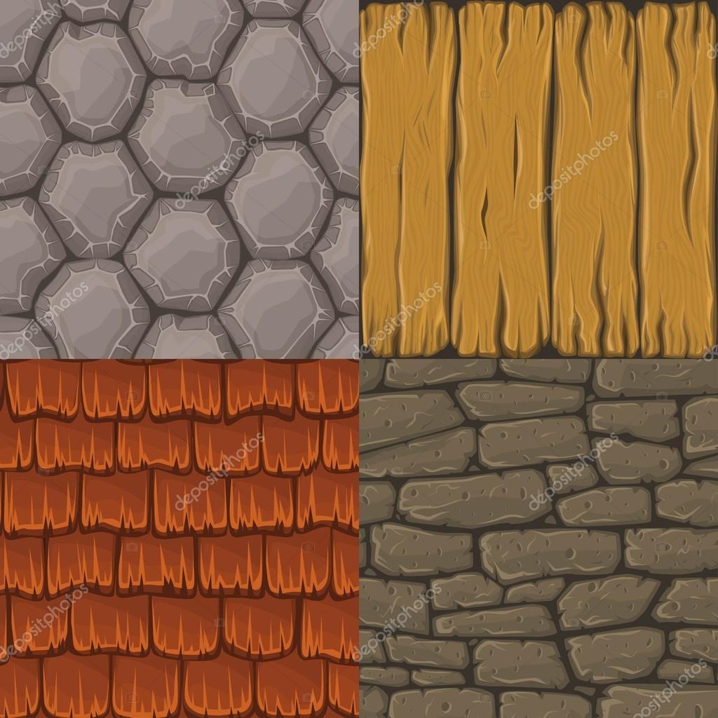 Dachziegel textur seamless  von vier Vektor Cartoon nahtlose Texturen. Steine, Dachziegel und ...