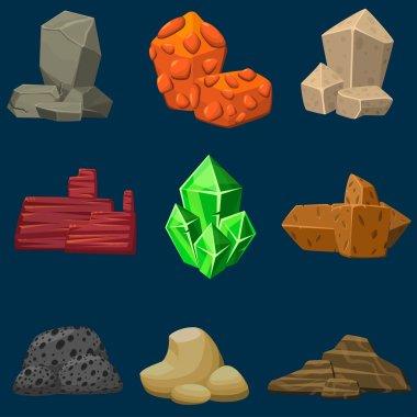 Vector cartoon mineral stones set