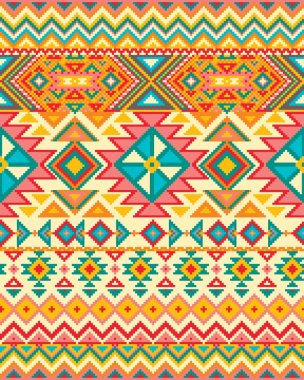 Bright seamless background with pixel pattern in aztec geometric tribal style. Vector illustration. Pantone colors.