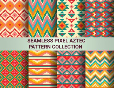 Collection of bright seamless pixel patterns in tribal style. Aztec geometric triangle and chevron patterns. Pantone colors.