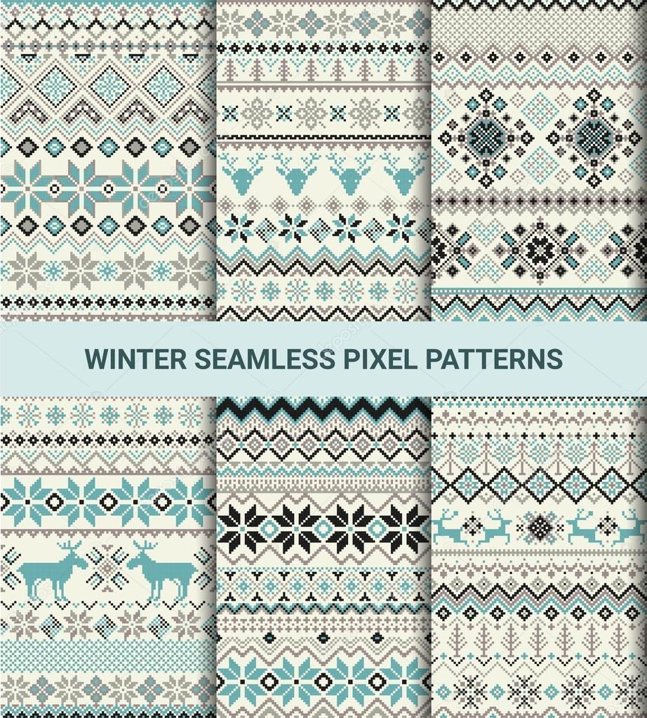 Colección de patrones sin fisuras retro de pixel con estilizados ...