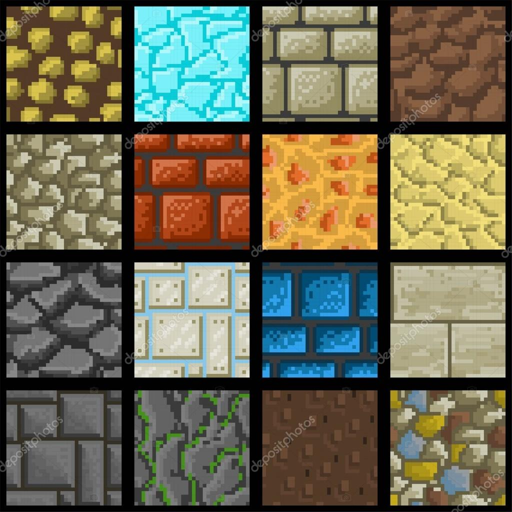 Collection Of Sixteen Seamless Pixel Ground Textures For