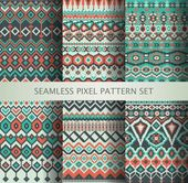 Fotografie Collection of pixel colorful seamless patterns with stylized Greenland national ornament. Vector illustration.