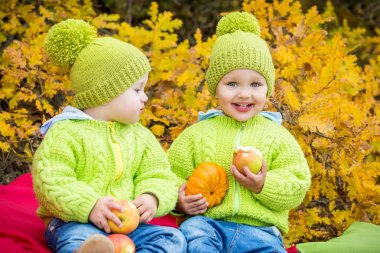 Happy toddler twins boys