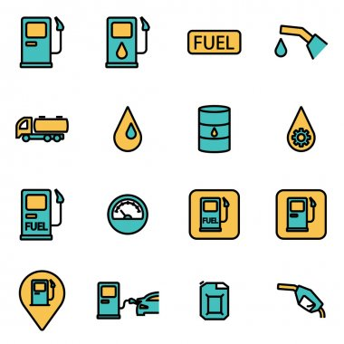 Trendy flat line icon pack for designers and developers. Vector line gas station icon set