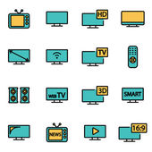 Trendy flat line icon pack for designers and developers. Vector line tv icon set