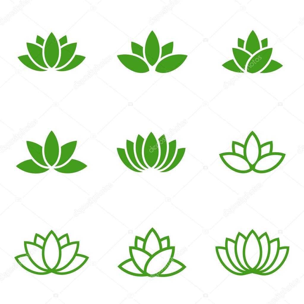 Flor Loto Verde Establecer Los Iconos Verdes De Loto De Vector