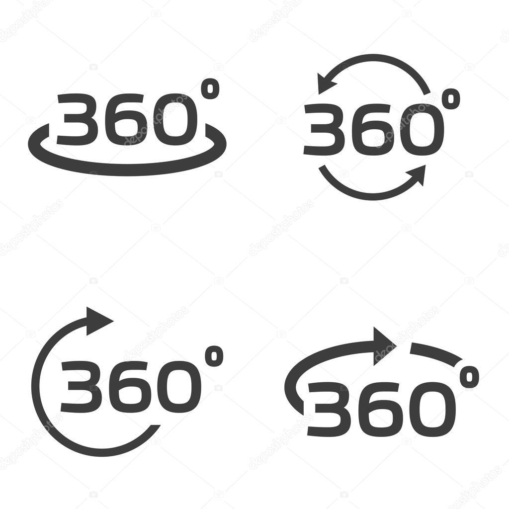 Conjunto De Iconos De Vector Negro 360 Grados
