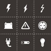 Fotografie Vector black electricity icon set