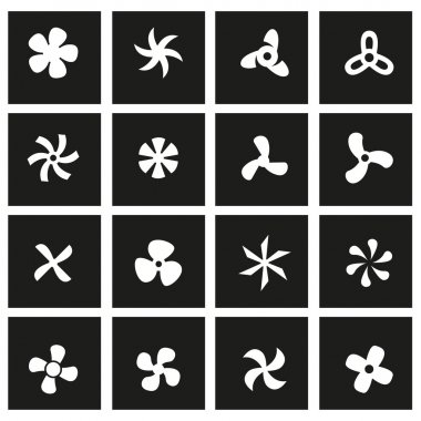 Vector black fans and propellers icon set