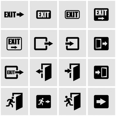 Vector black exit icon set