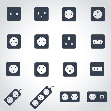 Vector black power socket icon set