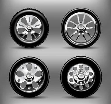 Chrome wheels. Vector illustration
