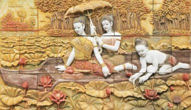 Thai stucco art on temple wall