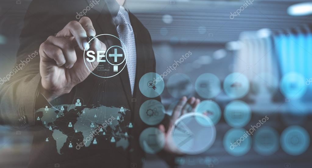 double exposure of  businessman hand showing search engine optim
