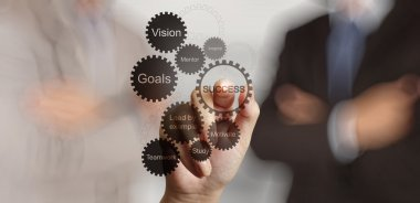 Businessman hand shows gear business success chart concept stock vector