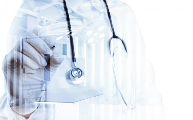 Double exposure of smart medical doctor working with abstract op