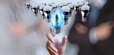 hand reach 3d light bulb of leadership concept